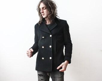 Vintage ADAGIO Wool Coat 1980s Cashmere Warm Winter Coat Jacket Black Blazer Outerwear