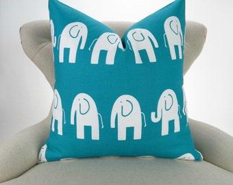 Elephant Pillow, Turquoise White Nursery Pillow, Euro Sham, Kids Decor, Zoo Nursery, Teal, Aqua, White -MANY SIZES- Ele by Premier Prints
