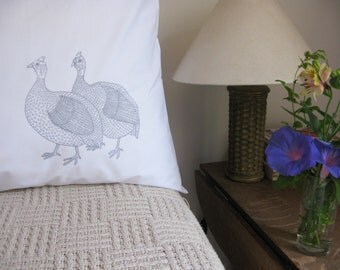 Pillow cases, Set of Two, hand printed, guinea fowl