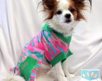 Dog Hoodies-Sweaters Custom Sizes xxsmall - Xlarge Pink, Blue, Green Camo Trimmed in Green print Soft cotton jersey