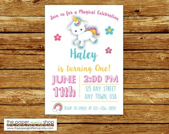 Unicorn Invitation | Unicorn Birthday Invitation | Unicorn Party | Unicorn and Rainbows Birthday Party Invites | Unicorn Invites with Photo