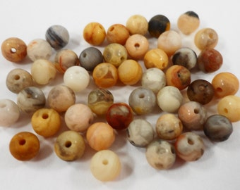 Crazy Lace Agate Beads 4mm Round Crazy Lace Agate Stone Beads, Natural Gemstone Beads, Matte Stone Beads, 45 Loose Beads per Pack