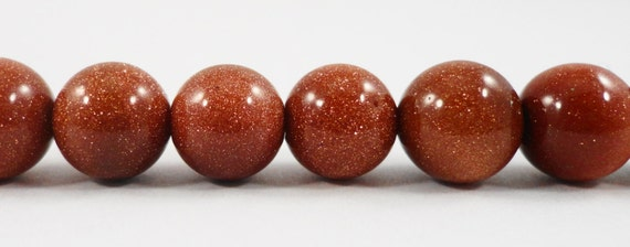"10mm Goldstone Beads 9-10mm Round Brown Goldstone Beads Glitter Beads Imitation Gemstone Beads Faux Stone Beads on a 7"" Strand with 19 Beads"