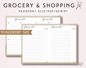 Passport Size TN Grocery List and Shopping List - Printable Traveler's Notebook Insert - Script Theme