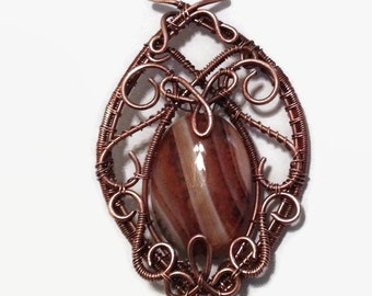 Wire Wrap Pendant/ Copper Wire Wrap Necklace/Agate Wire Wrap/ Dragons Veins Agate Wrapped Necklace/ Wire Wrapped Jewelry/ Antiqued Copper