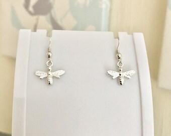 Bee Drop Earrings - Sterling Silver, Bee Earrings, Drop Earrings, Bee Jewellery, Dangle Earrings, Dainty Earrings, Small Earrings, Nature
