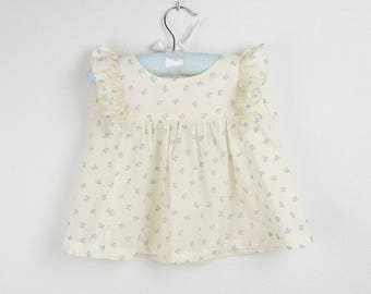 Girl Top -  Ruffle Ivory top with blue flowers - Also available with pink flowers