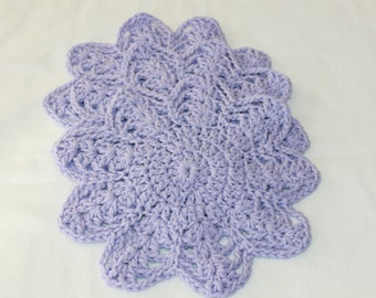 Multi-Use Crocheted Dishcloth Set - Cotton Dishcloth Set - Doily - Set of 3 - Lavender
