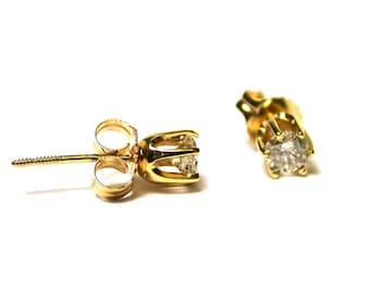 Vintage Diamond Earrings - 14k Yellow Gold Diamond Studs - Post Back - Pierced - April Birthstone # 1446