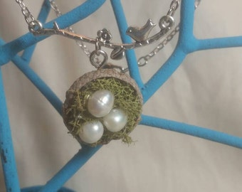 Very Unique Acorn Bird Nest Neclace With Freshwater Pearl Eggs
