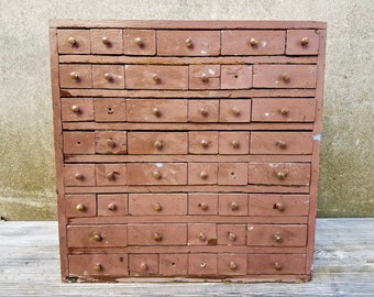 Vintage Shop Made 47 Drawer Hardware Nuts and Bolts Parts Cabinet