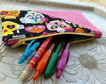 Zip Pouch, Sugar Skull Clutch, Pencil Case, Makeup Bag