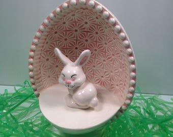 Vintage Ceramic Whimsical Rabbit and Ceramic Egg Stage