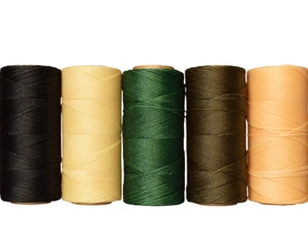 Macrame Cord Set of 5 colors, Waxed Thread Linhasita, Bracelet Cord - 10 meters each color