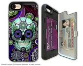 Purple Paisley Sugar Skull Apple iPhone 7 Card holder Case - Dia De Los Muertos - Credit Card Apple iPhone 7 Case with Rubber Sides