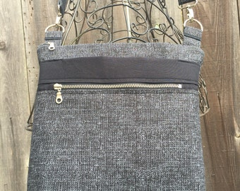 Cross Body Bag, Across The Body Bag, Black and Grey Cross Body Purse, Adjustable strap, long handle purse, Travel Purse, Zippered Purse