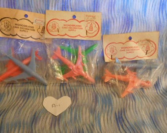 Vintage-Plastic Airplane Cake Toppers-6 Total-Old Store Stock-#A-1