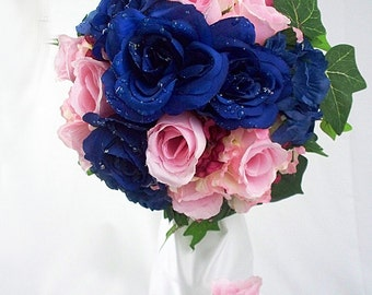 Blue and pink flower bouquets, Blue and pink bouquet, Blue and pink wedding bouquets, Blush pink and navy blue wedding bridal light dark