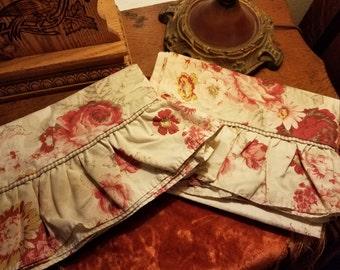 Vintage Retired Waverly Norfolk Vintage Rose Pillowcases Shabby Cottage