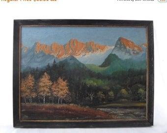 ON SALE Landscape, Oil Painting, Art, Mountains, Signed, Original, Framed, Rustic, Vintage, Wall Hanging