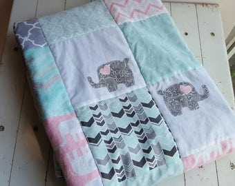 Pink, Mint and Gray Elephant Baby Quilt, Pink Elephant Nursery Quilt, Pink, Mint Green and Gray Crib Quilt, Elephant Nursery Bedding