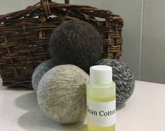 Clean cotton Scented Wool Dryer balls Set of 4,  ecofriendly, dryer sheet alternative, green clean, clean living, dryer ball, wool balls