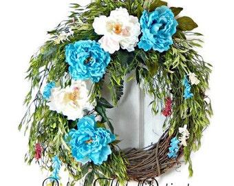 Peony Wreath, Spring Wreath, Easter Wreath, Easter Wreaths for Front Door, Spring Grapevine Wreath, Handmade Wreath, Blue Wreath, Wreaths