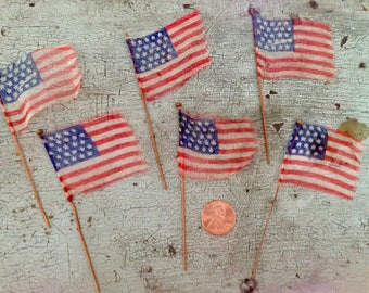 RESERVED Vintage Patriotic Diminutive American Flags Small Tiny Doll Miniatures Old Glory Tattered Set of 6 Independence Day 4th of July