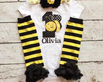 Bumblebee Birthday/First Birthday/Cake Smash outfit/Bumblebee PhotoProp/ BumbleBee Headband/Bumble Bee Legwarmer