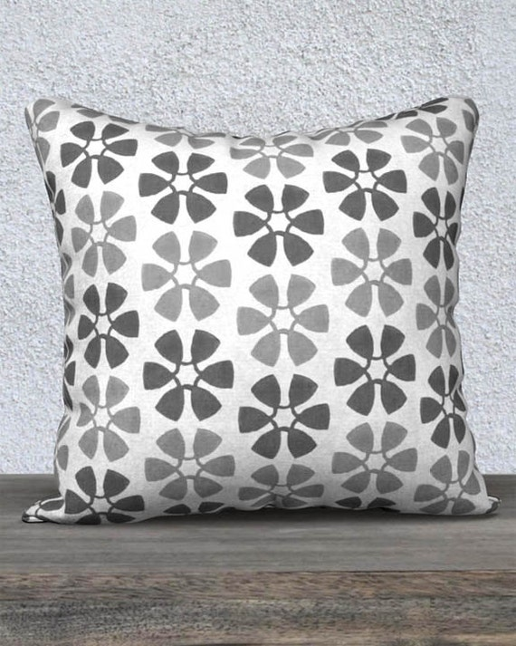 Gray Nursery Pillow Cover in Pinwheel Pattern