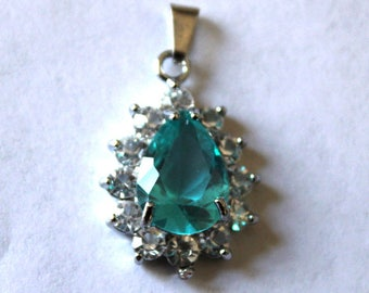 Teal Faceted Tear Drop Rhinestone Charm/Pendant