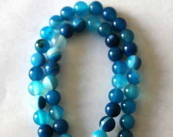 6 mm Blue and White Agate Semi Precious Gemstome Beads