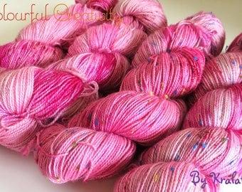 Pink fluffy unicorn - single skein fingering weight