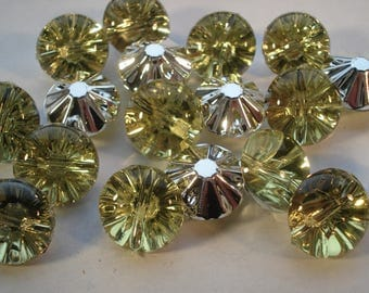13mm Acrylic Rhinestone Buttons, 1-Hole Faceted Rivoli Xilion Buttons, Pack of 18 Jonquil Buttons, A1201