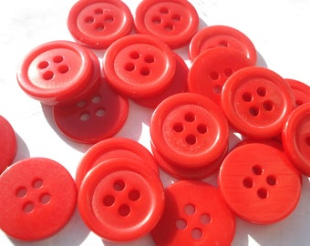 15mm 4-hole Red Buttons, ABS Red Plastic Buttons, Pack of 20 Red Buttons AS1541