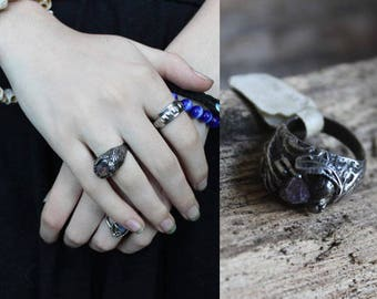Natural Amethyst Ring Raw CRYSTAL STONE Vintage Sterling Silver GEMSTONE Purple Jewel Accessory Magical Mystical Woman Statement Ring Size 5
