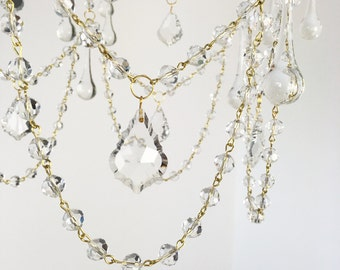 "Clear Crystal Chandelier Bead Garland, 39"" Long with 10mm Round Crystal Garland"