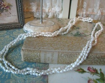 Darling Three Strand White Rice Fresh Water Pearls Necklace Bridal Jewelry Wedding Necklace