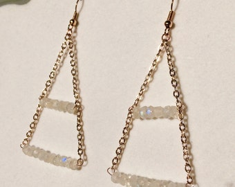 Rainbow Moonstone and Rose Gold Pyramid Earrings