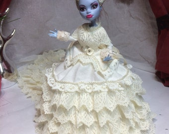 Ivory Victorian Two Piece Gown - Overcoat and Skirt with Train for your Monster High Doll - Monster High Doll Clothes