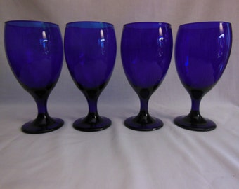 Cobalt Blue Goblets Cobalt blue Water Glasses Blue Stemware Libbey Glass Co. Offers always considered