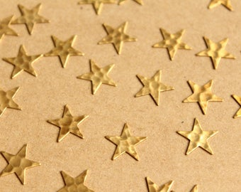 20 pc. Raw Brass Hammered Stars: 12.5mm by 12.5mm - made in USA | RB-1005