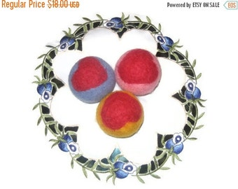 ON SALE Wool dryer balls, large, set of 3, color, felted, heart decoration, family gift  laundry cat dog pet baby children