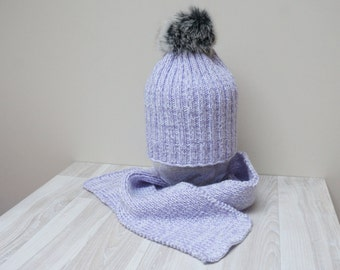 Real rabbit fur Pom Pom hat and scarf tam rasta beanie bobble slouchy cap Beret white purple knit handmade Yarn cable set folk unisex girl