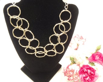 SPRING SALE Adjustable Silver Geometric Handmade Hammered Circle Necklace Up to 20 Inches