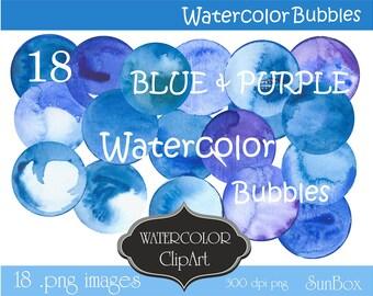 Blue Watercolor Bubbles Clipart, Circle, Dot, Spot, Round Spots, Clip Art Digital Images 18 .png files