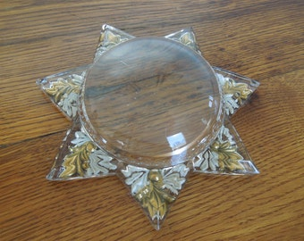 Antique Mourning Star Goofus Glass Dome Magnifying Paperweight Picture Frame