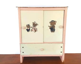 Vintage Pink Doll Closet Wardrobe Hanging Clothing Storage Wood 50s 60s Mid Century Furniture Pretend Case Chest Drawers Bears 17 inch