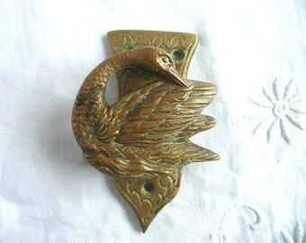 Vintage brass door knocker - brass swan door knocker - antique swan door knocker - Belgian brass door knocker