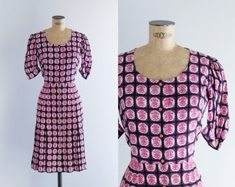 Vintage 70's Purple And Pink Printed Dress - 1970s Fashion - Ancient Seal Dress